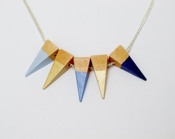Geometric Sterling Silver Wooden Necklace Blue and Gold