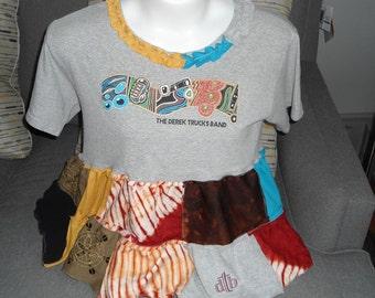 SALE Women's Revamped Upcycled Derek Trucks Band T-Shirt size Large-X Large