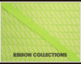 "3/8"" Candy Stripe Neon Green Printed Grosgrain Ribbon"