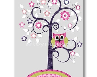 Art for Children Kids Wall Art Baby Girl Room Decor Baby Nursery Decor Kids Art Baby Girl Nursery Print Tree Owl Decoration Kids Room
