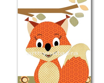 Squirrel Nursery Childrens Art Kids Wall Art Baby Boy Room Decor Baby Boy Nursery Art Kids Art Baby Nursery print Kids print orange