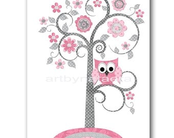 Kids Wall Art Tree Nursery Baby Girl Nursery Art Nursery Wall Art Baby Nursery Decor Kids Room Decor Kids Art Girl Print Owl Rose Gray