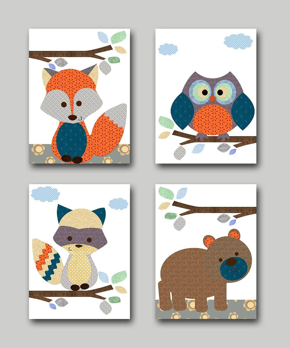 owl nursery fox nursery bear nursery baby boy nursery decor. Black Bedroom Furniture Sets. Home Design Ideas