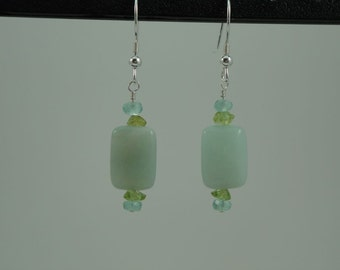 Natural Amazonite, Apatite, Peridot Drop Earrings Item #386