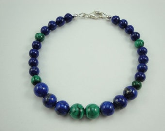 Natural Lapis lazuli and Malachite 7.5 inch Bracelet #196