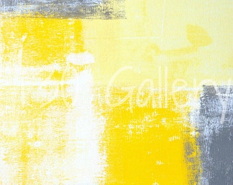 All Angles, 2013 - Acrylic Artwork Modern Contemporary Abstract Print Wall Decorative Free Shipping Grey Yellow White 11x14 12x18 16x20