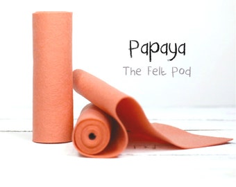 Wool Felt Roll - 100% Wool Felt in color PAPAYA  - Craft Felt - Merino Wool