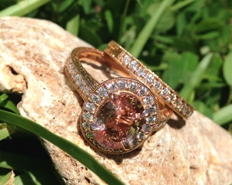 ONLY One Available with this Peachy Sapphire set in Rose Gold with Matching Band