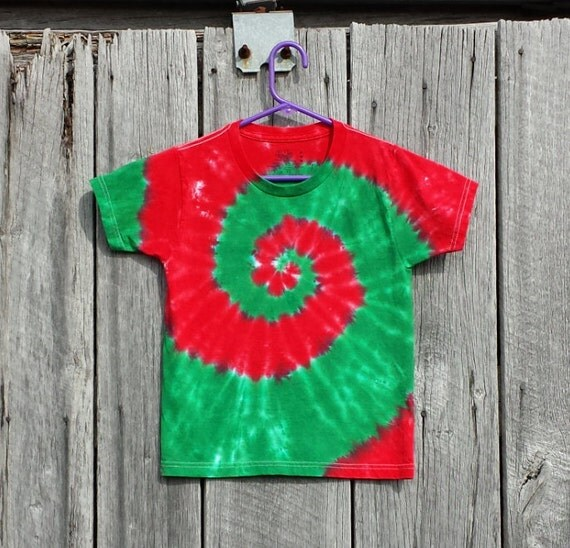 Christmas Tie Dye Kids Red And Green Spiral T Shirt S M L