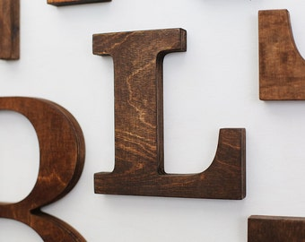 L alphabet wooden letters 6 7 inch vintage decorative letter for wall stained brown home decor