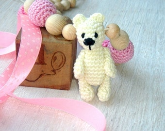 Teddy Nursing necklace Breastfeeding necklace Bear toy Teething necklace toy Pink or blue MADE TO ORDER Baby carrier necklace Baby teddy toy