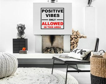 Positive Vibes motivational sign vinyl wall lettering decal for your personal bedroom, livingroom, nursery minimalistic decor (ID: 131017)