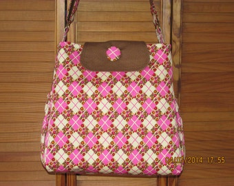 Handmade Pink Argyle Print Diaper Bag With Matching Changing Pad and Pacifier Clip - Free Shipping!