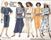 "Vintage 1987 Vogue 1831Dress, Top & Skirt Sewing Pattern Size 8-10-12 Bust 31 1/2""-32 1/2""-34"" UNCUT"