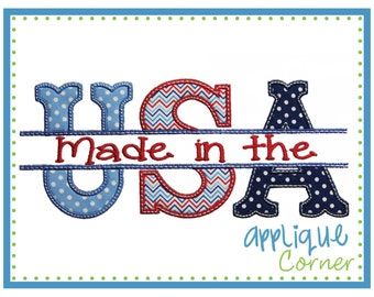 INSTANT DOWNLOAD Made in the USA Split 4th of July applique design in digital format for embroidery machine by Applique Corner