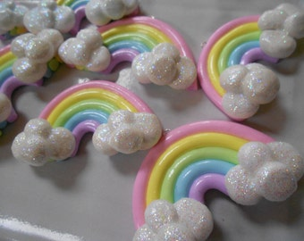 Pastel Rainbow Pendants with Glittery Clouds, Kawaii Polymer Clay Rainbows, TWO Per Order, Approximately 60mm