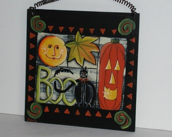 Hand Painted Halloween Wall Plaque
