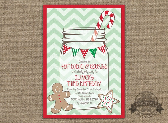 Christmas Birthday Party Invitation ANY text Holiday Party
