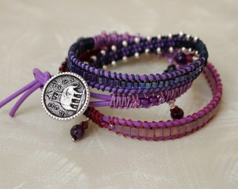 wrap bracelet elephant button beaded purple leather cord with amethyst dangles
