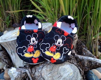 Mickey Mouse booties. Available in 0-18 mo.