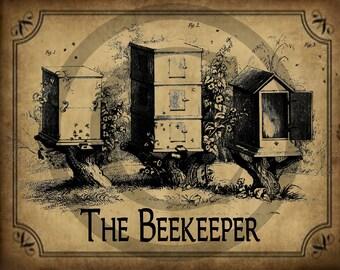 Primitive Bee BeeKeeper Hive Skep Honey Pantry Logo Jpeg Digital File for Crock  Jar, Labels, Pillows and more!