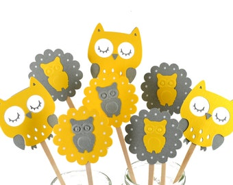 12 Owl Cupcake Toppers / Owl Party Decor / Owl Invitation / Owl Party Theme / Yellow & Grey Owl Cupcake Toppers / Owl Baby Shower