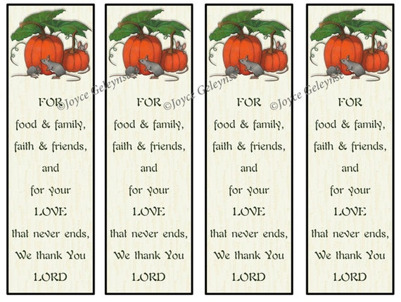 Printable Thanksgiving Bookmarks Pumpkins With Mice Prayer