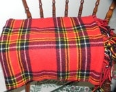 Pendleton Red Black Yellow White Plaid Wool Throw Blanket Sportsrobe With Fringe Vintage Bedding