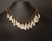 Statement Necklace with Bohemian Rustic Biwa Pearls and Chain
