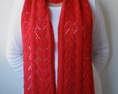 Scarf Knitting PATTERN PDF, Knitted Scarf, Lace Scarf - Forever Hearts Scarf