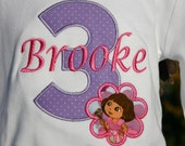 Ari's Angels Personalized Girls Birthday Dora Shirt Embroidered, Appliqued, Monogrammed