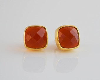 Carnelian stud earrings, Gemstone stud earrings, cushion cut earrings, carnelian earrings, carnelian jewelry, gold post earrings, orange