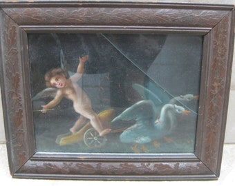 Victorian Cherub Oil Painting, Antique Victorian Art Nouveau Painting Cherub Swan Driven Chariot ORIGINAL Oil Painting Putti Angels