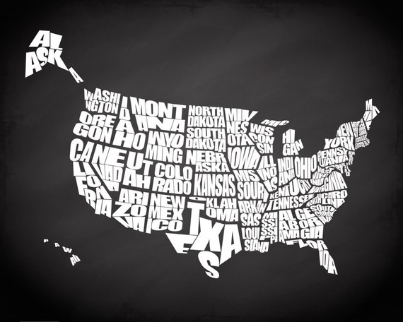 Chalkboard USA A Typographic Text Map Of The States Of The - Us map chalkboard