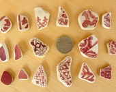 17 Red and White  Small / Medium Beach SEA POTTERY SHARDS Antique Scottish