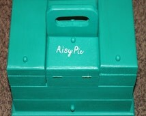 Hand Painted Aqua Wooden Compartment Jewelry and Keepsake Box, Make Up Box