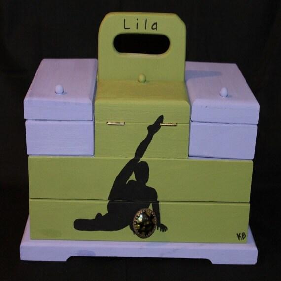 gymnast themed purple and green make up box by kristenbrickman. Black Bedroom Furniture Sets. Home Design Ideas