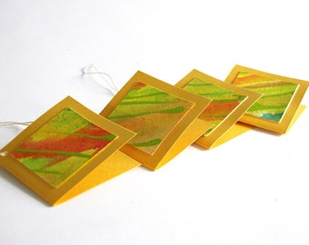 Hand-painted gift tags -- set of 4 folded tags / mustard yellow / green / multicolor / abstract / OOAK / original GT-75