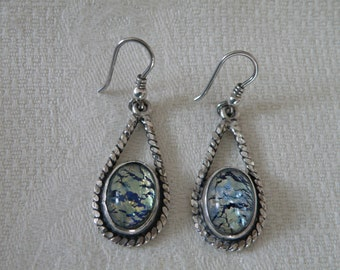 Silver Artisan Glass Earrings - marked 950