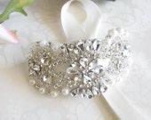 Rhinestone Bracelet / Beaded Bridal Cuff
