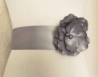 Bridesmaid Sash / Bridal Sash / Ribbon Sash /  Floral Bridal Sash / Flower Sash /  The Lori Sash