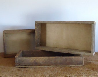 rustic wood box, wood tray, reclaimed wood box, organizer, rustic wedding tabletop, altered art supply