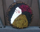 Primitive Folkart Hooked Rug Santa Coaster PATTERN ONLY  pdf format  International