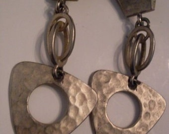 Hammered Look Industrial Triangle Dangle Earrings  We Ship Internationally