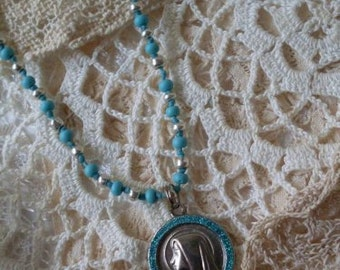 Religious Mary Turquoise & Silver Medal  Necklace/ Choker  Beaconhillcollect  Jewelry  We Ship Internationally