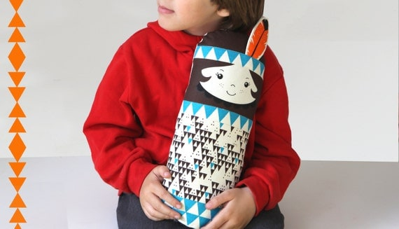 Native American Indian Scandinavian Retro Rag doll feather turquise mini cushion geo triangle