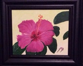 Magenta Hibiscus Flower  - Original Framed Painting - Last 2 days at this SALE price
