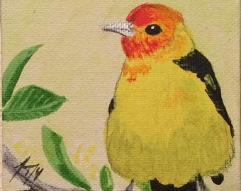 Little Bird Series  #2- Group of 3 Tiny Original Paintings - Last day at this SALE price