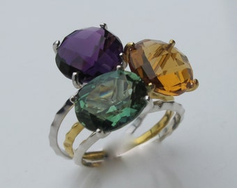 Stack Ring- Citrine Ring- Mothers Ring- Purple Amethyst Ring- Gemstone Ring- Amethyst Ring- Green Quartz Ring- Stone Stack Ring