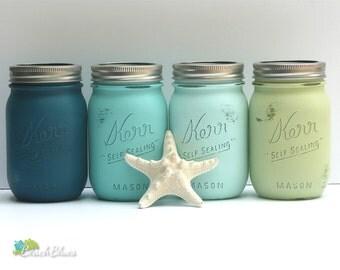 Painted Mason Jars Home Decor Dorm Decor Centerpiece Vase Pencil Holder Blue Aqua Green